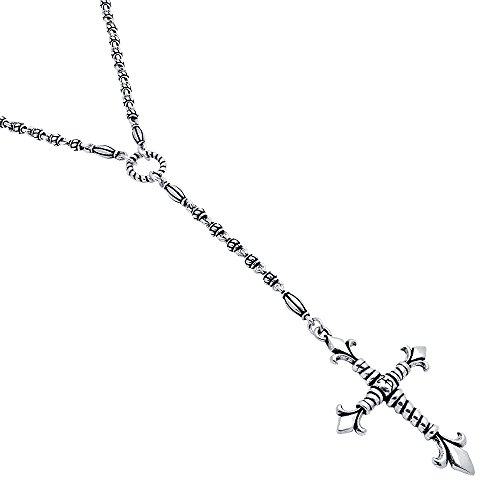 Twisted Blade 925 Sterling Silver Silver Studded Link 32'' With Large Fleur De Lis Rope Cross Necklace by Princess Kylie