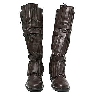 Anakin Skywalker Boots Deluxe Brown PU Shoes Mens Cosplay Costume Prop Xcoser 44
