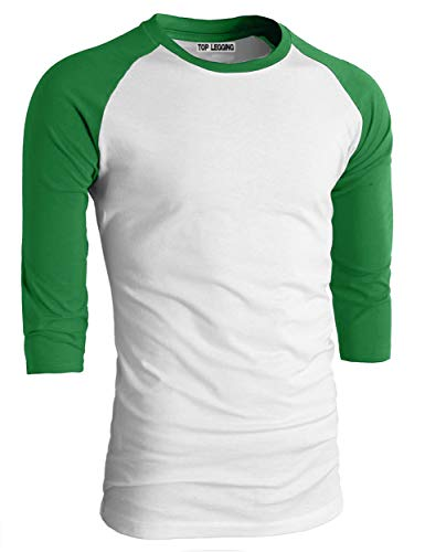 (TOP LEGGING TL Men's Baseball Crew Neck Cotton Long or 3/4 Sleeve Essentail Raglan Tee Shirts (Small, 3/4_SL-Green_WH))