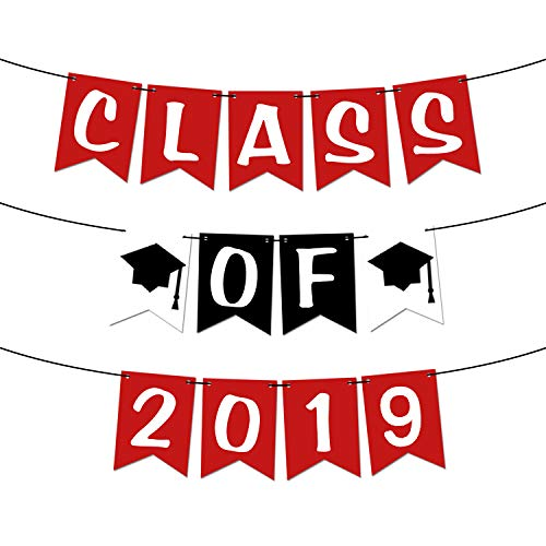 Class of 2019 Red, Graduation Banner - Assembled - Red Graduation Party Supplies 2019 | Graduation Decorations Red and Black Banner Sign for Mantle, High School, College Graduation, No DIY, Felt]()