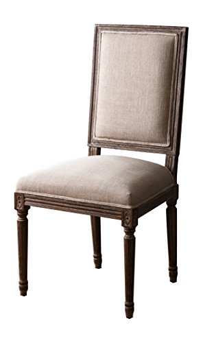 Abbyson Living HS-DC-064-WH Emilia Vintage Linen Rectangle Back Dining Chair, Wheat