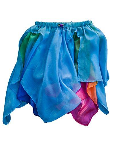 Sarah's Silks - Reversible Silk Fairy Skirt (Blue/Rainbow) (Rainbow Fairy Costume)