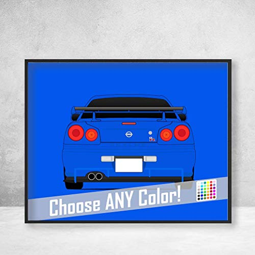 Nissan Skyline R34 GT-R from the Fast and the Furious Brian O'Connor (Paul Walker) Fast and Furious Art Poster Print Wall Art Decor Handmade Godzilla Nismo V-Spec (Rear View) (Fast And Furious Nissan Skyline Gtr R34 Specs)