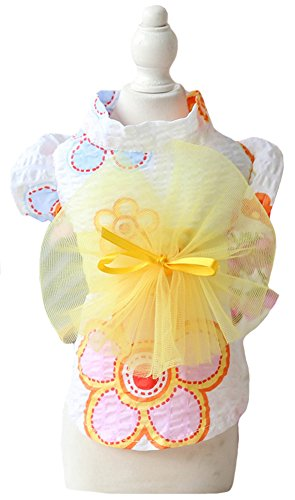 MaruPet Brocade Japanese Kimono for Girl Floral Pet Halloween Costume Bowknot Dog Dress for Small, Extra Small Dog Wiener Dog Teddy, Pug, Chihuahua, Shih Tzu, Yorkshire Terriers, Papillon Yellow M