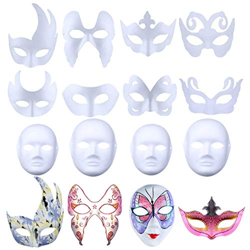 Make Your Own Halloween Mask Game (Outgeek White Masks, 12PCS DIY Unpainted Masquerade Masks Blank Painting Mask White Plain DIY Paper Masks Paper Face Mask Mask for Kids Women Cosplay Halloween Party Costume Masquerade Dance)