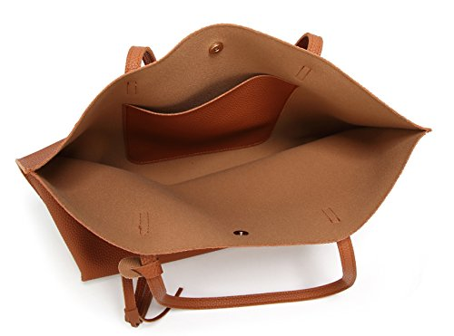 Women's Soft Leather Tote Shoulder Bag from Dreubea, Big Capacity Tassel Handbag Brown by Dreubea (Image #6)