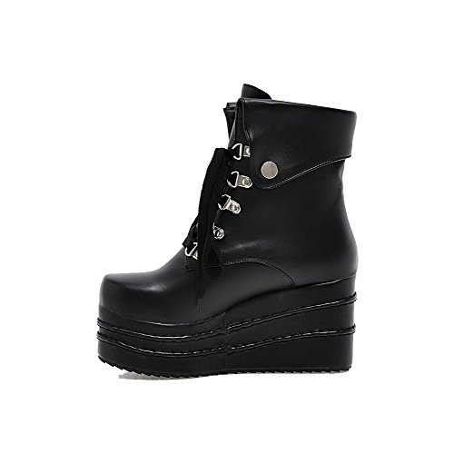 High Soft up Boots Toe Heels Black Material Low AgooLar top Closed Round Women's Lace wx8IqUaI