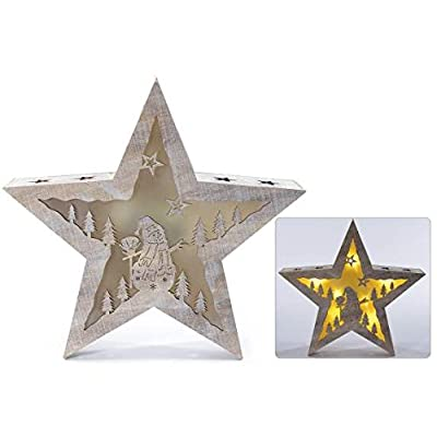 Étoile en bois et gorges Laser avec lumière de soutenir