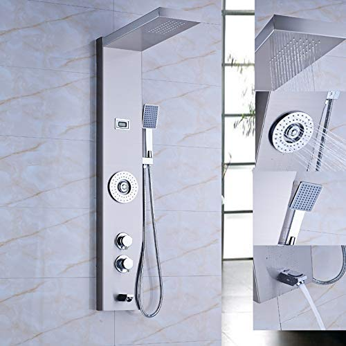 (WANNA.ME Stainless Steel Rainfall Waterfall Shower Panel Thermostatic Multifunction Shower Column with Massage Systerm)