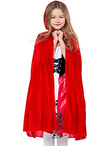 ARAUS Girls Red Riding Dress Hood Kids Halloween Costume Outfit for Dress Up Fancy Party Cosplay Stage Performance 3-9 Years