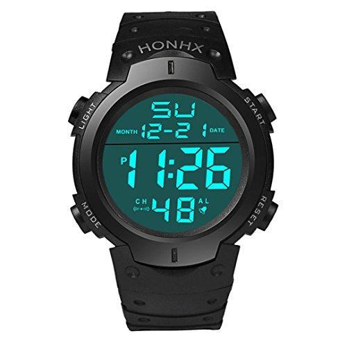Auwer Men's Boy's Sport Waterproof LCD Digital Stopwatch Date Rubber Sport Wrist Watch (Black) from Auwer