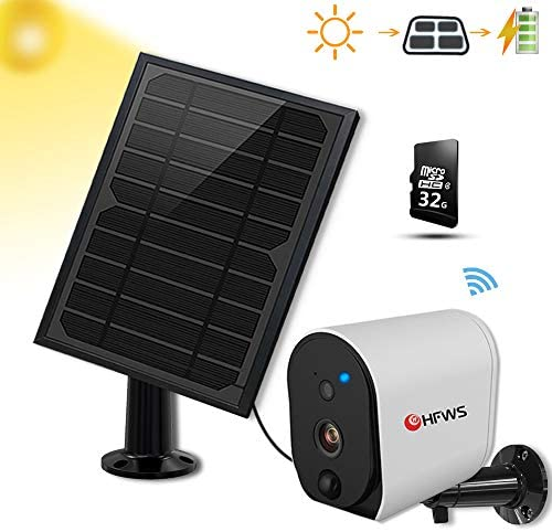 Solar Powered Security Camera Solar Panel, Compatible with Alexa and Google Voice Enabled,Rechargeable 6400mAh Battery That Lasts for 365-Days Under Sunlight, 2-Way Audio, Includes 32G Card,HFWS-S3