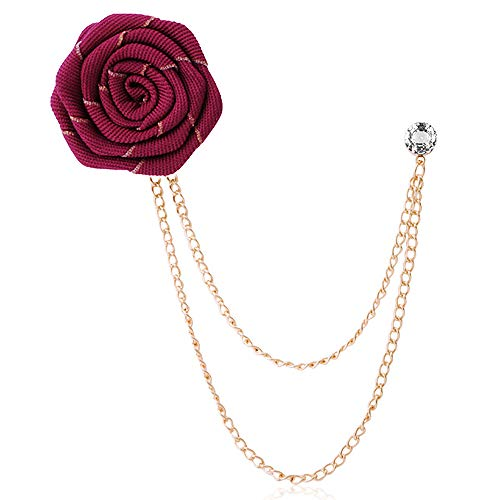 YOOE Men Ribbon Cloth Rose Flower Brooch.Chain Fringed Suit Corsage Breastpin,Red Blue Flowers Boutonniere Pins Wedding Brooch (Red)