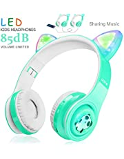 WOICE Bluetooth Headphones, Cat Ear LED Light Up Wireless Foldable Headphones Over Ear with Mic, Music Sharing Function and 85db Limited for iPhone/iPad/Smartphones/Laptop/PC(Mint)