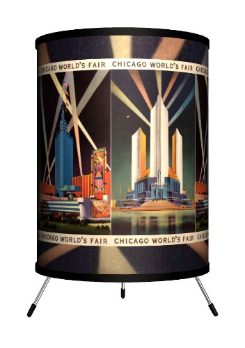 Lamp-In-A-Box TRI-TRV-CFAIR Travel - Chicago Fair Postcard Tripod Lamp by Lamp-In-A-Box