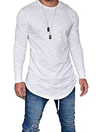 Men's Long Sleeve Slim Fit Thin T-Shirt Crew Neck Cotton Autumn Casual Solid Color Blouse