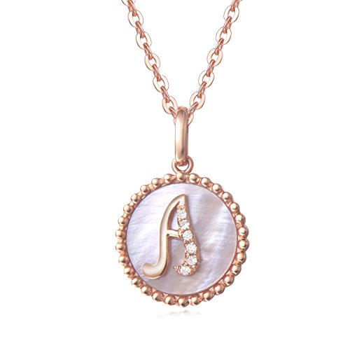 Solid 14K Rose Gold Initial Pendant Necklace, Carleen Alphabet Coin Pendant Neckace with Mother of Pearl Round Diamond for Women Girls, 18