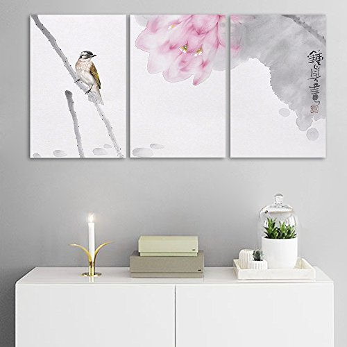 3 Panel Chinese Ink Painting Lotus Flower and a Bird Gallery x 3 Panels