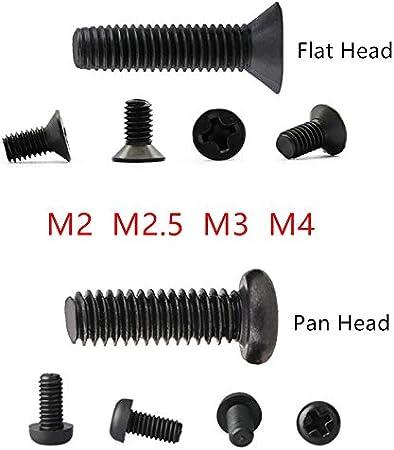 3//4//5//6//8//10//12//16//20 Marque M4 M3 30mm croix t/ête plate//Pan filetage boulon fini noir vis m/écanique m/étrique brand:TONW FASHION M2,5 tonw MODE Phillips Vis M2