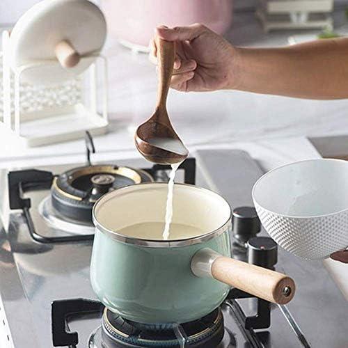 1yess 16 Centimetri in Porcellana Smaltata Latte Pot 1.7L da Cucina antiaderenti Mini Pot della minestra con Stufa a Coperchio Fornello a Gas applicabile Stoviglie
