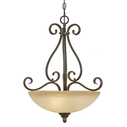 Riverton Pendant Finish - Golden Lighting 1567-3P PC Riverton Pendant Bowl, Peppercorn Finish