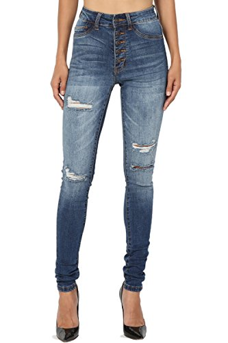 TheMogan Women's High Waisted Ripped Distressed Destroyed Skinny Jeans Medium 7