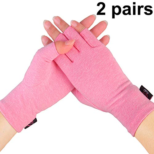 Arthritis Gloves - 2 Pairs Compression Gloves for Women and Men, Fingerless Design to Relieve Pain from Rheumatoid Arthritis and - Gloves Compression Arthritis