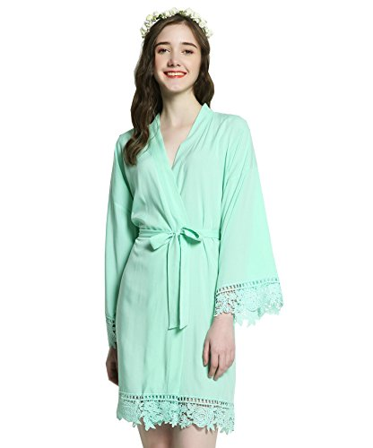 (Owiter Women Cotton Lace Robe Bridesmaid Robes Wedding Robe Bridal Bride Robe (Mint, One Size))