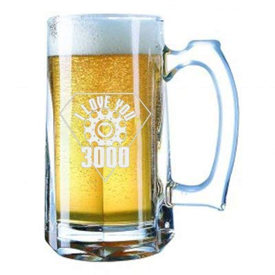 Giant Laser Engraved Beer Mug 28 Ounces Beer Stein - I Love You 3000 Metal Heart Reactor Film Parody