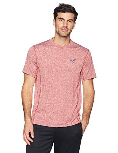Peak Velocity Men's Tech-Stretch Short Sleeve Quick-Dry Loose-Fit T-Shirt, Threshold red Heather, Medium (Recovery Peak)