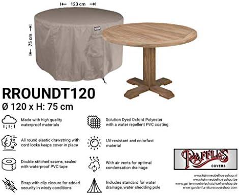 Raffles Covers Funda Redonda para Muebles de jardín NW-RROUNDT120, diámetro de 120 cm y Altura de 75 cm, Cubierta de protección para Mesa Redonda de jardín, Cubierta ...