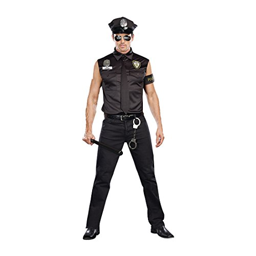 Dreamgirl Men's Dirt Cop Officer Ed Banger Costume, Black, (Men Cop Costumes)