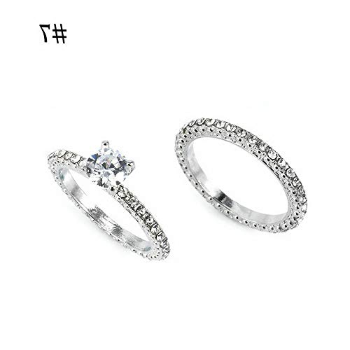 Wausa Delicate White Sapphire Women Silver Plated Ring Set Wedding Engagement Jewelry   Model RNG - 10277   1 Set 7# ()