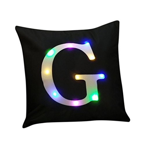4 Square Letter (Highpot New Creative LED Lights Cushion Cover Christmas Pillow Case Home Decor Letter Printed Linen Pillow Cover (G))