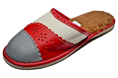 Reindeer Leather Women's Warm Winter Indoor Leather Scuffs, Ladies House Slippers (6, (Reindeer Leather)