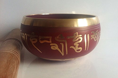 4 Inches Hand Painted Metal Tibetan Buddhist Singing Bowl Musical Instrument for Meditation with Stick and Cushion by ShalinIndia