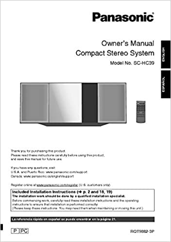 Panasonic SC-HC39 Stereo System Owners Instruction
