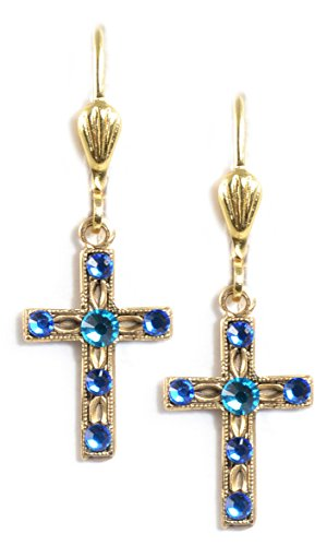Clara Beau Delicate Swarovski crystal Latin Cross dangle earrings EC214 GoldTone - Capri Blue Swarovski Crystal Crown Earring
