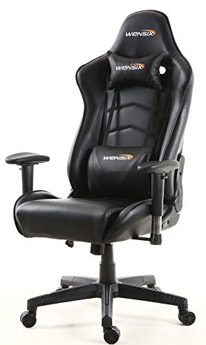 WENSIX Ergonomic High Back Computer Gaming Chair for PC Racing Chairs with Adjustable Headrest and Backrest (Black-02)