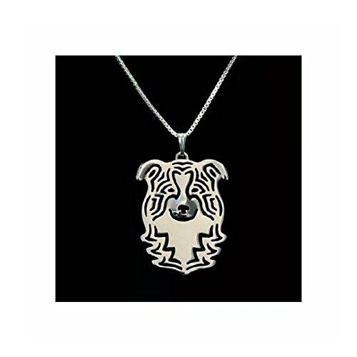 Border Collie Dog Necklace Silver-Tone ()