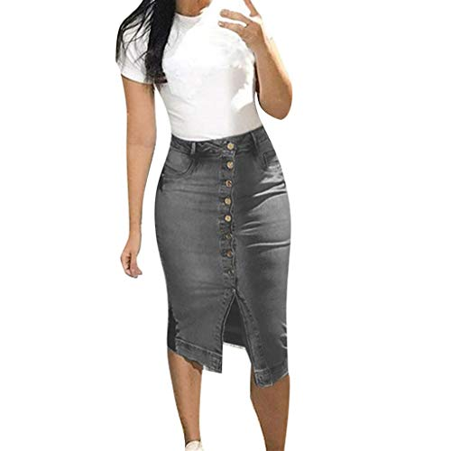 Split Denim Skirt - Women Fashion Denim Skirt Summer Button Design Split Front Open Skirts