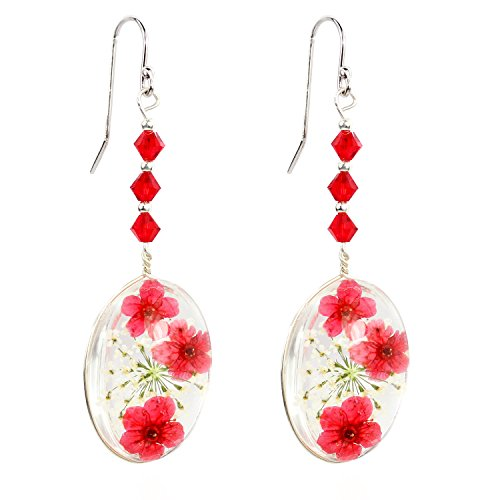 CewanCe Red Cherry blossoms Pressed Flower Allergy-free Drop Earrings With Swarovski Elements crystals (Ear12- Red)