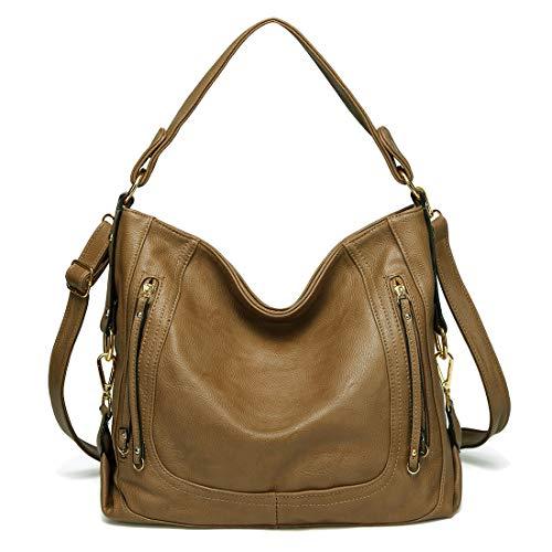 (Kasqo Women Handbag, Faux Leather Hobo Handbag Shoulder Bag with Detachable Strap Khaki)