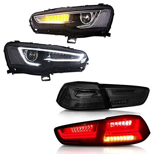 MOSTPLUS Bi-Projector Headlights W/Full Black Housing & Tail Lights for 2008-2017 Mitsubishi Lancer/EVO X