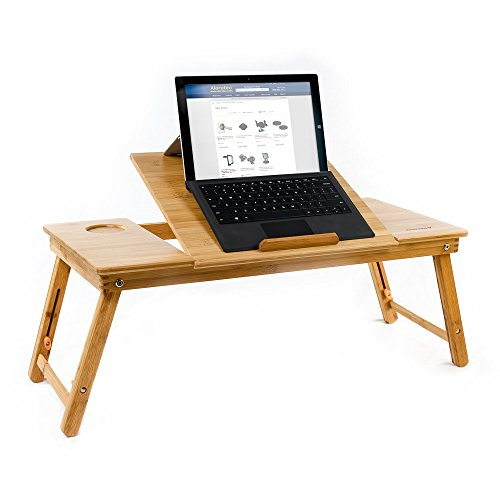 (Aleratec Natural Bamboo Tablet Laptop Up to 15in Cooling Stand with Fan Table Desk)