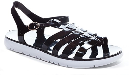 Sale Soft Jelly Sandals (Bamboo Women's Fishermans Caged Gladiator Jelly Flat Sandal in Black Size: 8)