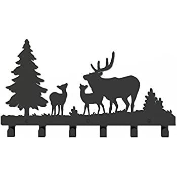 Amazon Wander Agio Deer Tree Forest Elk Cartoon Animal Metal Cool Black Metal Wall Mounted Coat Rack