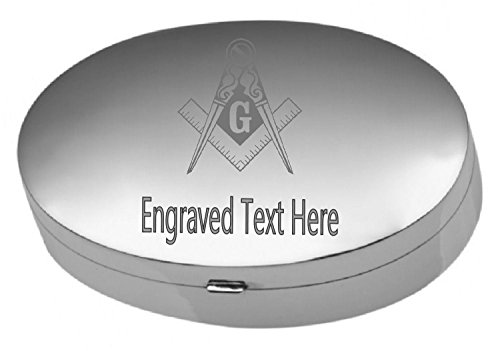 Sterling Silver Pill Box Masonic Freemason Lodge Engraved -