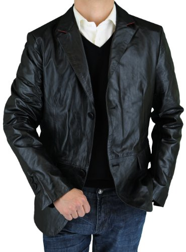Microfiber Jacket Tone Two - LN LUCIANO NATAZZI Men's Leather Jacket Modern Fit Two Button Blazer (Medium,Black)