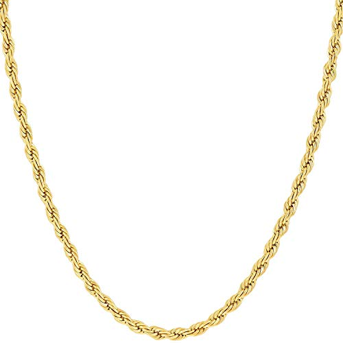 Hollywood Jewelry 14K Yellow Gold Solid 2mm Diamond Cut Rope Chain Necklace w/Real Strong Lobster Claw Clasp f/Men or Women Thin for Pendants 16-24inches (24)
